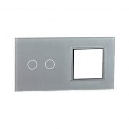 LIVOLO Podwójna srebrna ramka szklana z miejscem do włącznika dotykowego 702G-64
